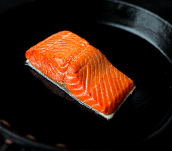 Pan seared salmon is a good technique for beginners. We recommend using a seasoned cast iron skillet, but any non-stick pan will do.