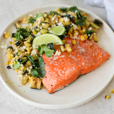 Grilled Salmon with Elote Style Veggies