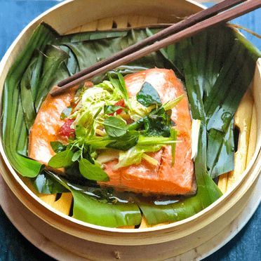 STEAMED SALMON WITH GINGER AND SIZZLING SESAME OIL recipe